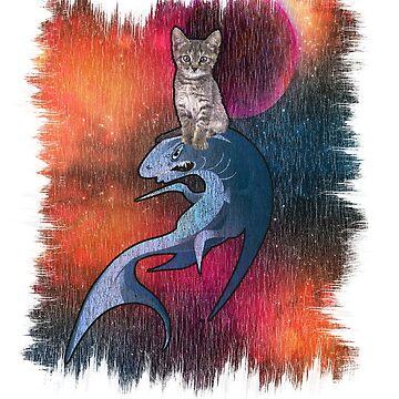 Cat Riding Shark, Cat In Space Shirt Cat Lover Shirts, Kitten In Space, Shark In Space T-Shirt  by Teekittykitty