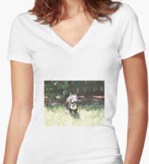 Terrier on the Run! Women's Fitted V-Neck T-Shirt