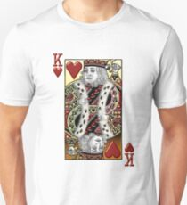 King of Hearts over White Leather  T-Shirt