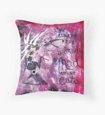 MAD ABOUT CATS Super Cool Cat Lady Art by Loralai Throw Pillow
