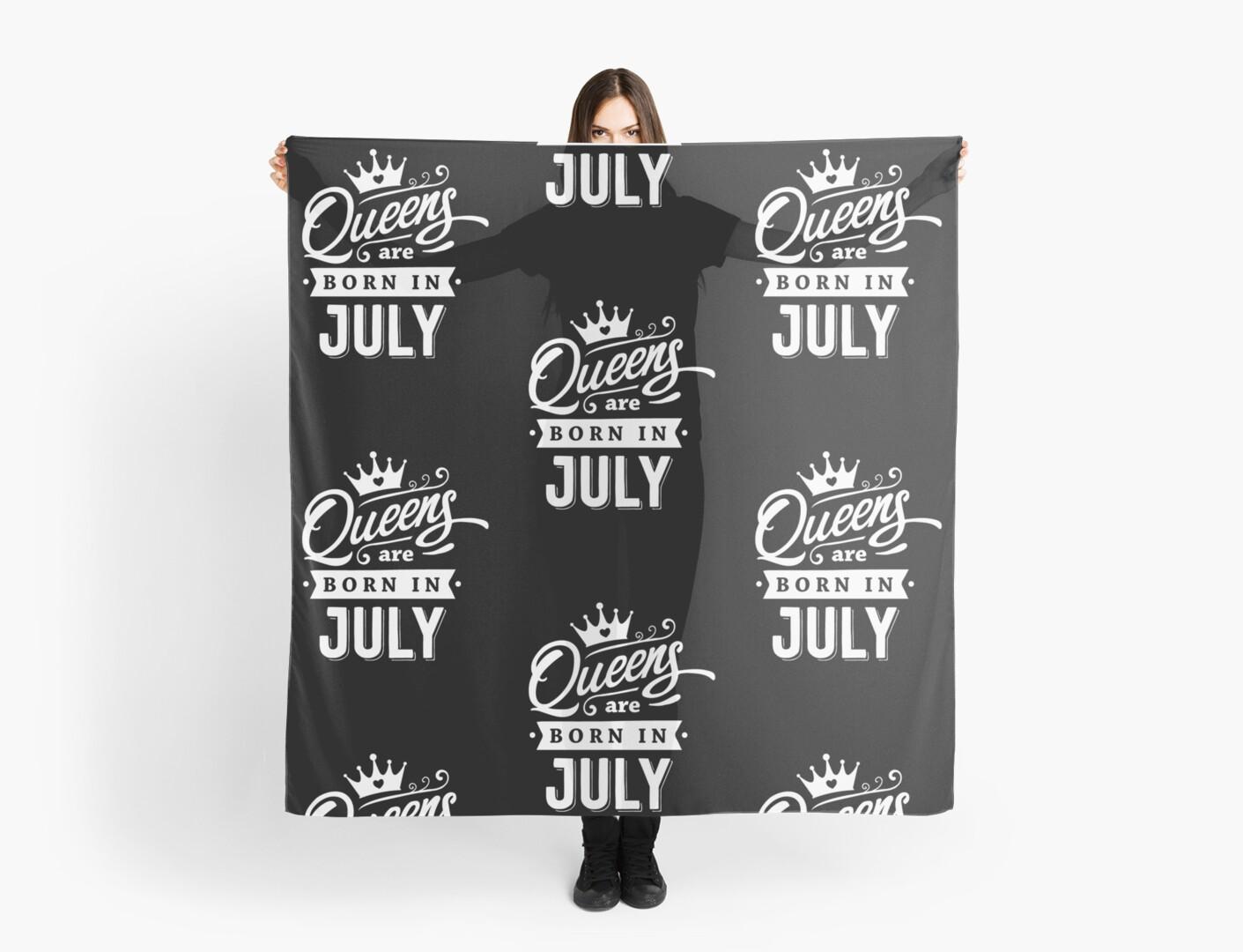 Pañuelos «Queens nace en julio - ¡Blanco sobre negro, diseño de ...