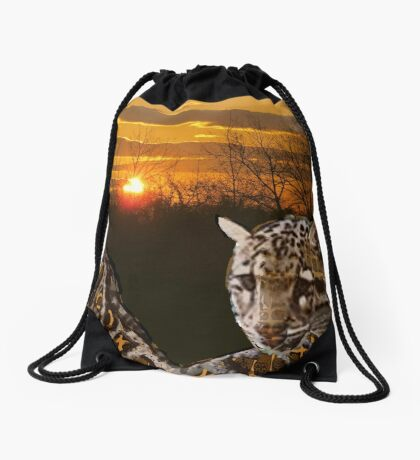 Fire Leopard Drawstring Bag