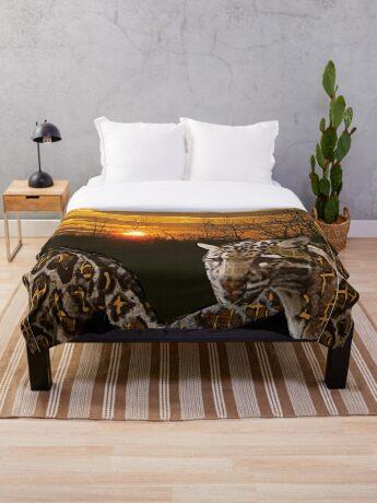 Fire Leopard Throw Blanket