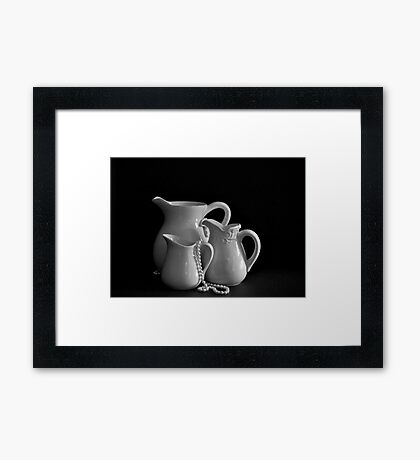 Three Pitchers by the Window in B&W Framed Print