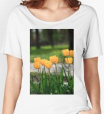Blooming yellow tulip flowers close up Women's Relaxed Fit T-Shirt