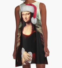 Mona Lisa Wearing a Santa Hat A-Line Dress