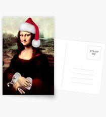 Mona Lisa Wearing a Santa Hat Postcards