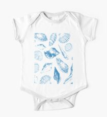 Tropical underwater creatures in blue and white Kids Clothes