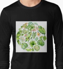 Tropical leaves round pattern, exotic monstera jungle print T-Shirt