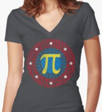 Wonder Pi Superhero Shield Shirt For Math Geeks And Nerds For Men, Women, and Kids Women's Fitted V-Neck T-Shirt