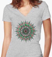Leaf mandala Women's Fitted V-Neck T-Shirt