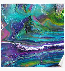 Paint pour from purple to blue to green Poster
