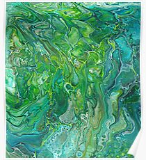 Paint pour abstract greens Poster
