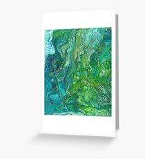 Poured paint - blues and lush greens Greeting Card