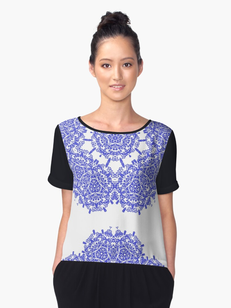 Floral Lacy Vintage Damask Indigo Blue And White  Women's Chiffon Top Front