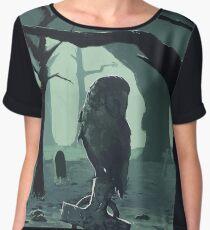 Owl on Grave Women's Chiffon Top