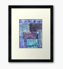 Gelli plate prints purples mixed media collage Framed Print