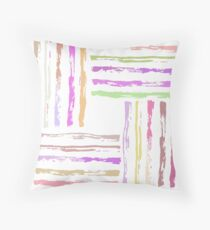 Colorful Paint Brush Strokes Abstract Pattern Throw Pillow