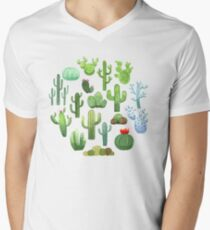 Watercolor Cactus T-Shirt mit V-Ausschnitt