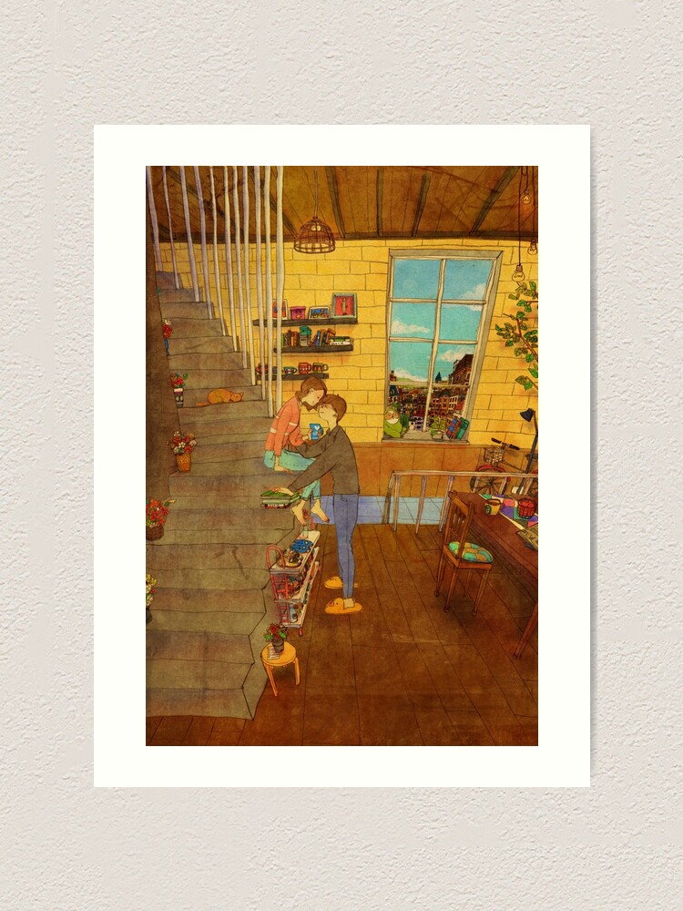 Alternate view of On the stairs Art Print