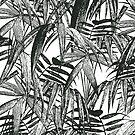 Black and White Vintage Tropical Palm Leaf Pattern by artsandsoul