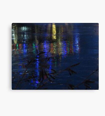 Christmas Lights on Ice Canvas Print