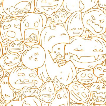 Halloween pumpkin line pattern by strijkdesign