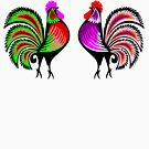 Two Colorful Alert Roosters by pjwuebker