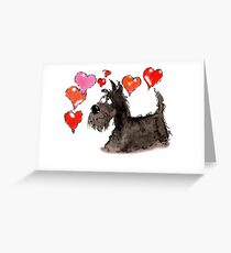 Scottie Dog ' Love Hearts' Greeting Card