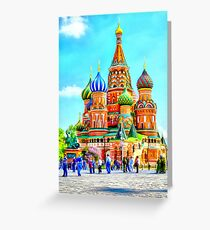 Masterpiece of Russian architecture. Aniline watercolor Greeting Card