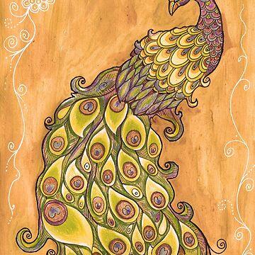 Peacock Original Painting, Peacock illustration drawing, OOAK Art by DhanaART