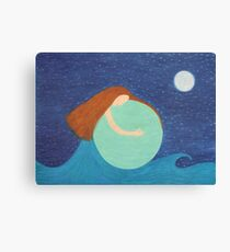 Mother Earth, Spiritual Art: Sea, Sky, Moon and Stars Canvas Print