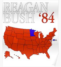 Reagan Bush '84 Retro Logo Red White Blue Election Map Ronald George 1984 84 Red States Electoral College Poster