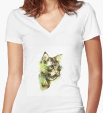 Cute cat. Watercolor illustration. T-shirt print. Greeting card. Poster Kitten. Women's Fitted V-Neck T-Shirt