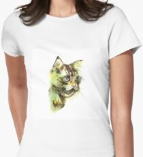Cute cat. Watercolor illustration. T-shirt print. Greeting card. Poster Kitten. Women's Fitted T-Shirt