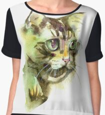 Cute cat. Watercolor illustration. T-shirt print. Greeting card. Poster Kitten. Chiffon Top