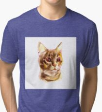 European shorthair cat red tabby, kitten lies on white background, isolated, hand draw watercolor painting. Tri-blend T-Shirt