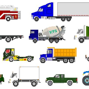 Trucks - The Kids' Picture Show - Pixel Art by KidsPictureShow