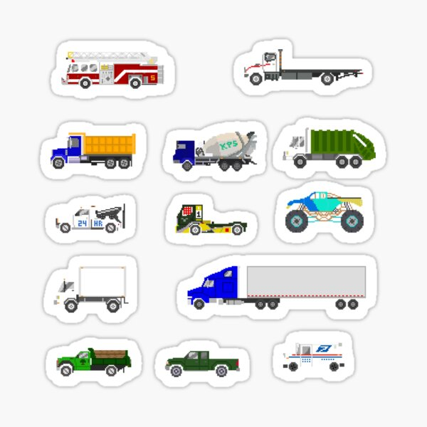 Trucks - The Kids' Picture Show - Pixel Art Sticker
