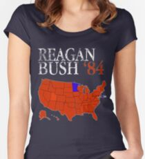 Vintage Style Distressed Reagan Bush '84 Retro Logo Red White Blue Election Map Ronald George 1984 84 Red States Women's Fitted Scoop T-Shirt