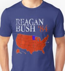 Vintage Style Distressed Reagan Bush '84 Retro Logo Red White Blue Election Map Ronald George 1984 84 Red States Slim Fit T-Shirt