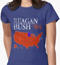Vintage Style Distressed Reagan Bush '84 Retro Logo Red White Blue Election Map Ronald George 1984 84 Red States Women's Fitted T-Shirt