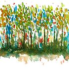 Silent Woods, Watercolors Abstract Landscape Art by ItayaArt