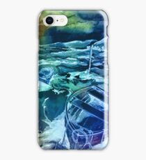 Pen and ink boats blue iPhone Case/Skin