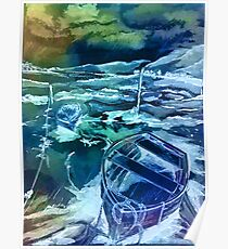 Pen and ink boats blue Poster