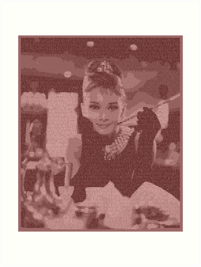 Quot Text Portrait Of Audrey Hepburn With Full Script Of