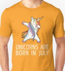 Unicorns are Born in July Dabbing T-Shirt Unisex T-Shirt