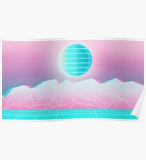 Vaporwave Mountains Poster