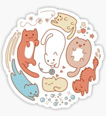 Cat life. Seven cute cats. Sticker