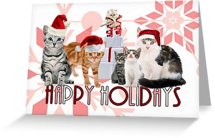Holiday Cats in Red Hues by Doreen Erhardt